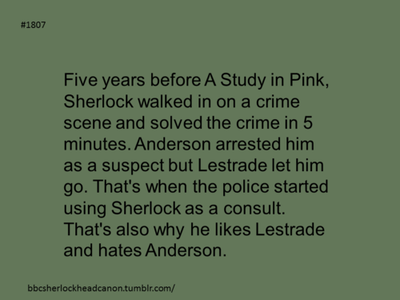 Sherlock Head Canon....uh alright then but I still say he would hate Anderson anyways...lets face it most of us do :D