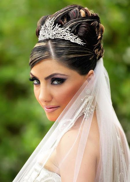 Bridal hairstyle with veil and tiara on a high bun hairdo for bridal hairstyle with veil and tiara on a high bun pmusecretfo Images