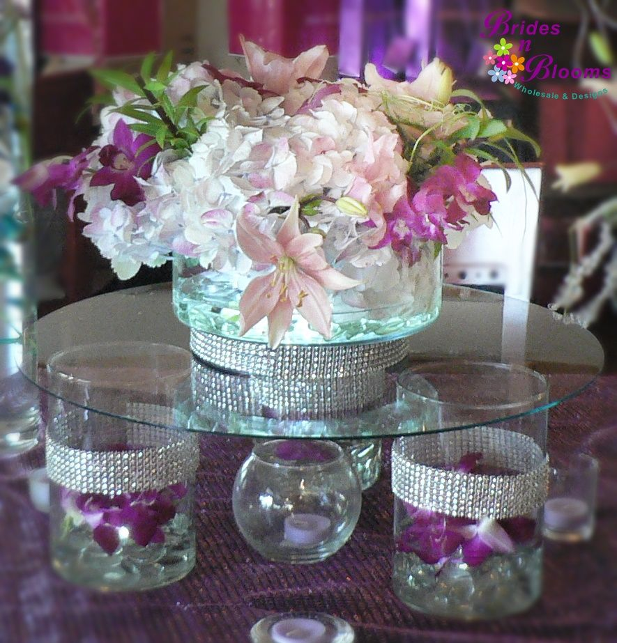 Wedding Table Flower Ideas: Raised Glass Table Centerpiece With Hydrangea, Orchids