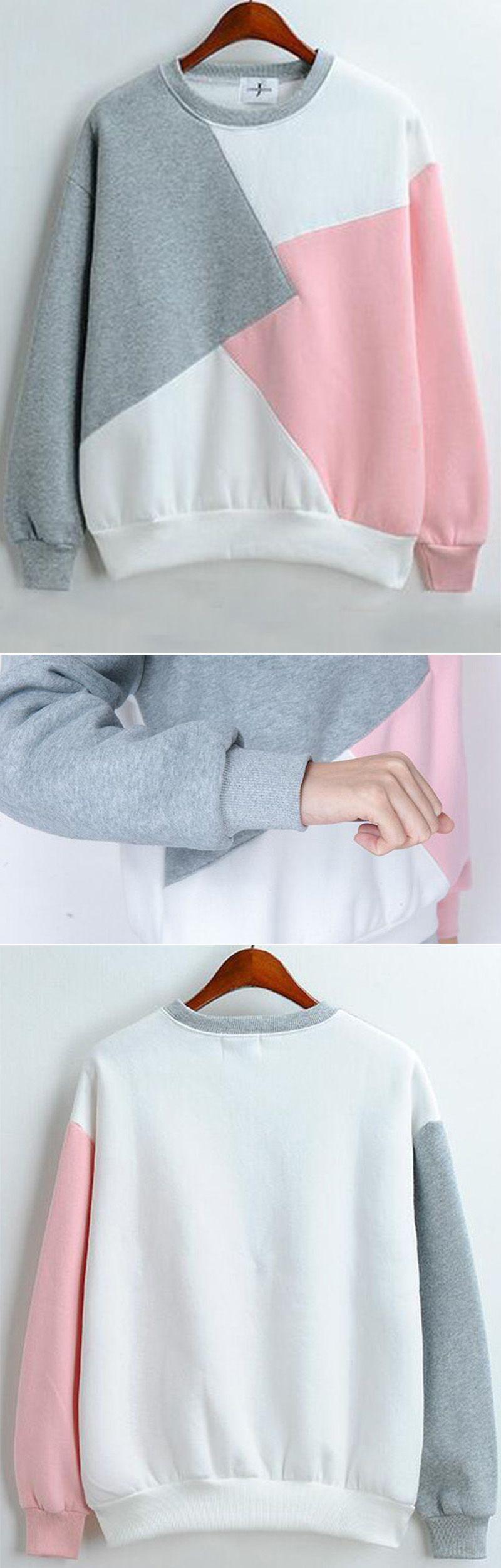 Color-block loose grey pink sweatshirt at romwe.com. More fashion ...