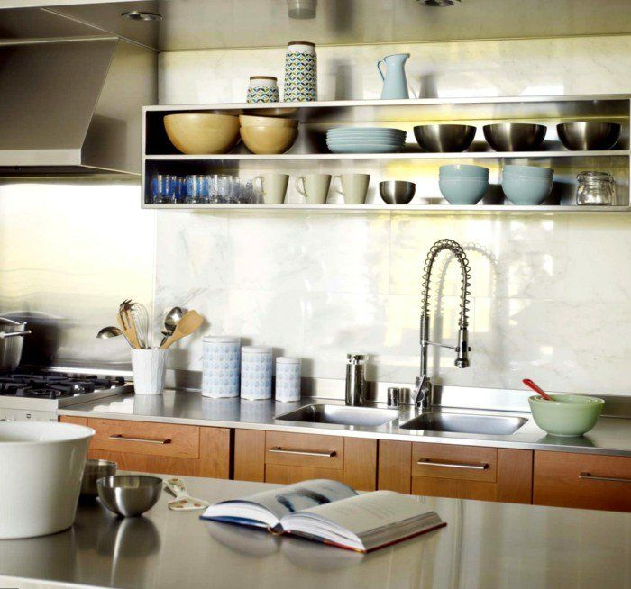 küchen ideen offene wandregale stauraum arbeitsfläche Küche - offene küchen ideen