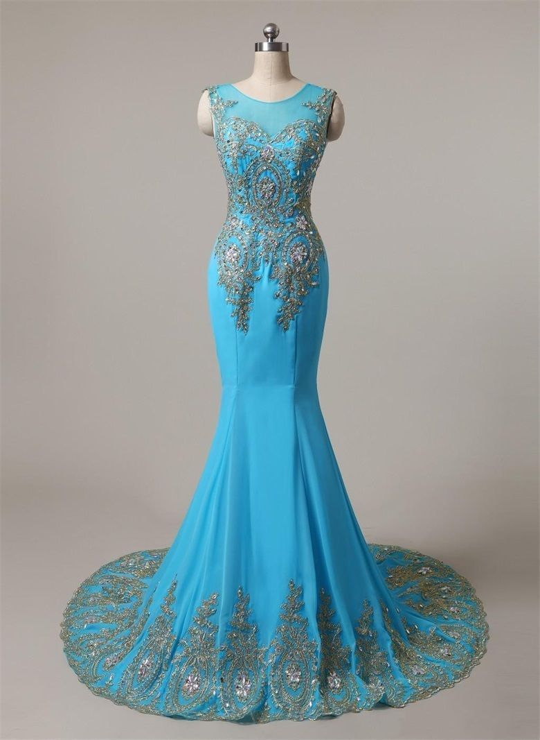 Nice Amazing Long Blue&Gold Mermaid Bridesmaids Prom Wedding Evening ...
