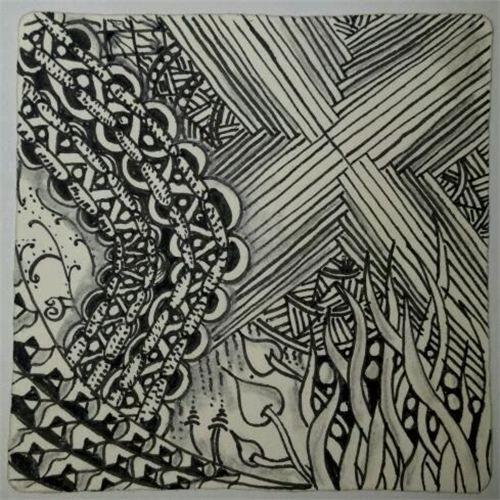 zentangle inspired art work. ©DiAnne Ferrer 2012: tangled design