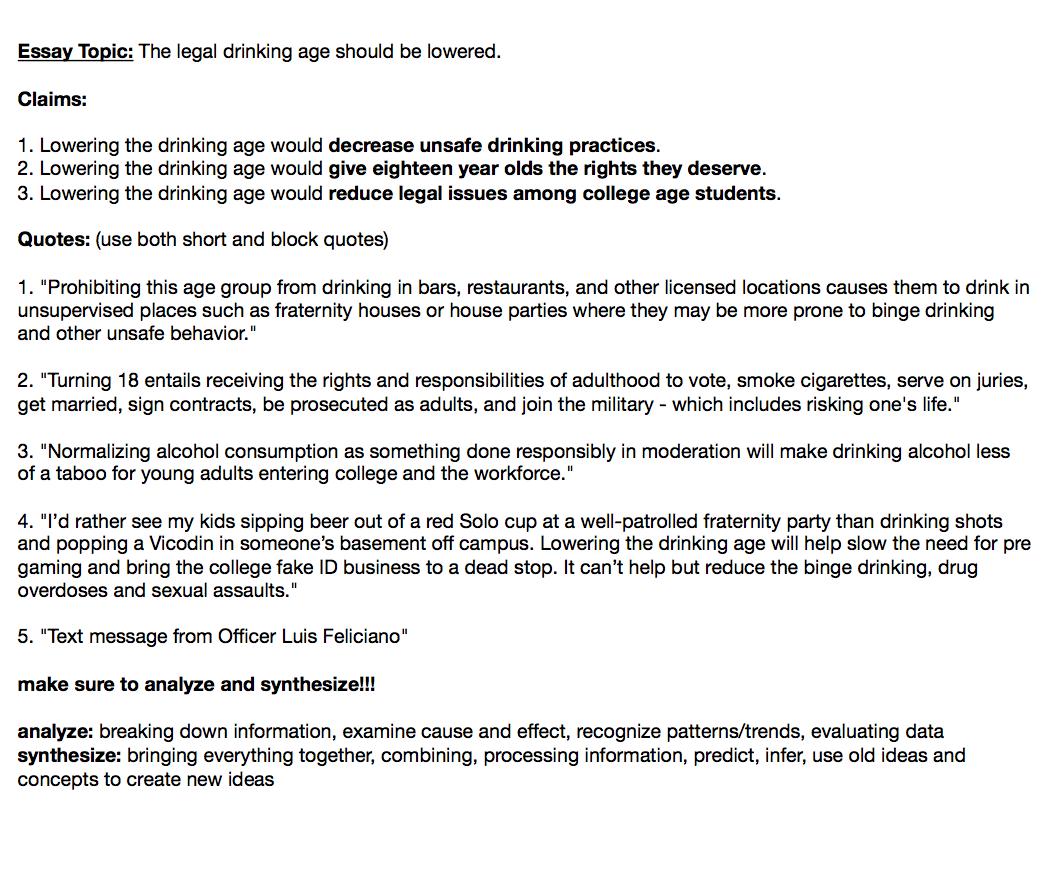 Legal drinking age essay