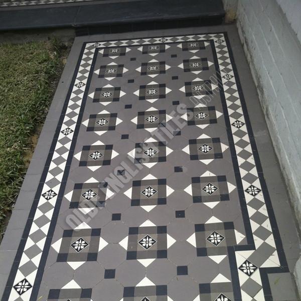 Verandah Heritage Tessellated Tiles   Verandah 32 · Geometrische FliesenEdwardian  HausViktorianischFliesenbödenEingangshallenVorgärtenGarten ...