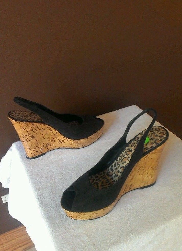 B Baker black suede Fall wedge sandals Sz 11B, excellent condition #Baker #PlatformsWedges