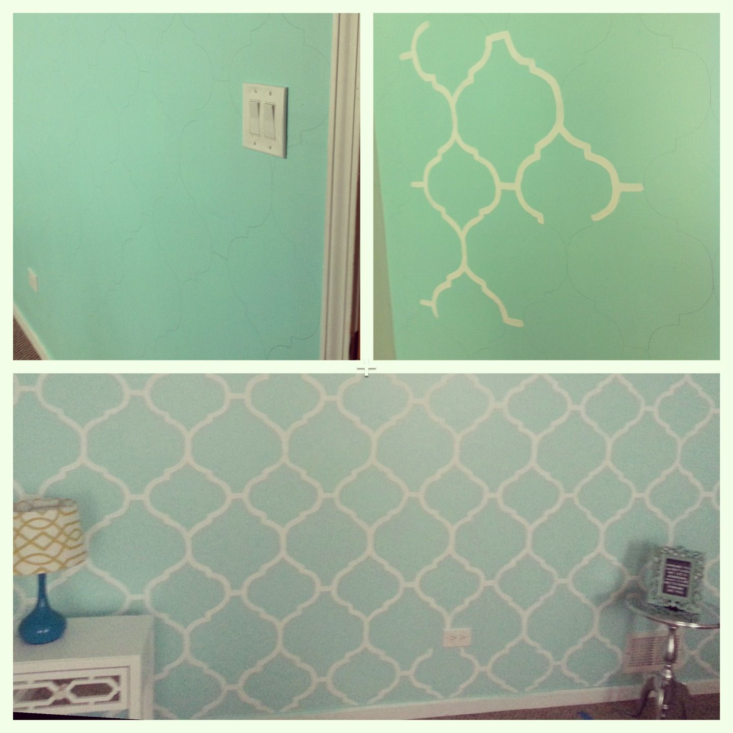 my mint green bedroom accent wall. freehand painting. | diy