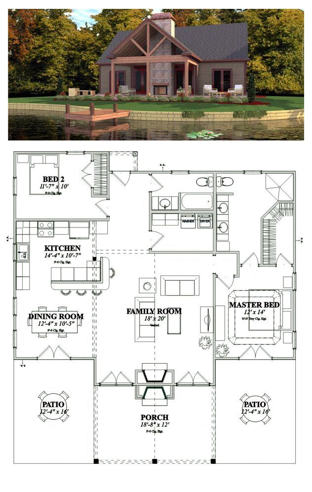 Cottage Style Cool House Plan Id Chp 44490 Total Living Area 1375 Sq Ft 2 Bedrooms 2 B Bungalow Style House Plans Cottage House Plans Lake House Plans