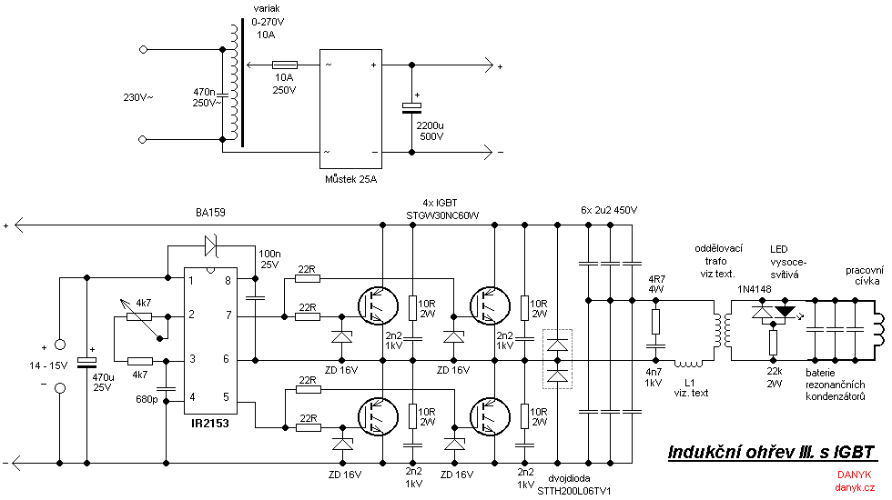 The schematic diagram of the induction heater with IGBT's