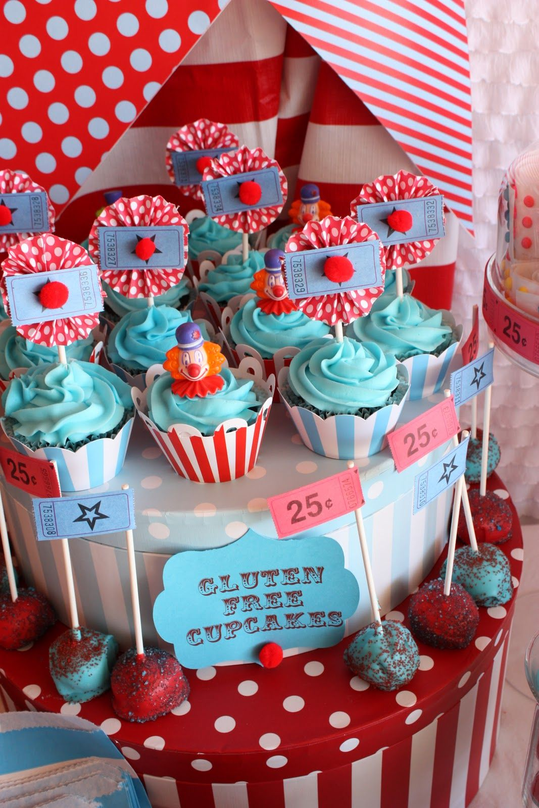 carnival clown cupcakes, and gluten free too!