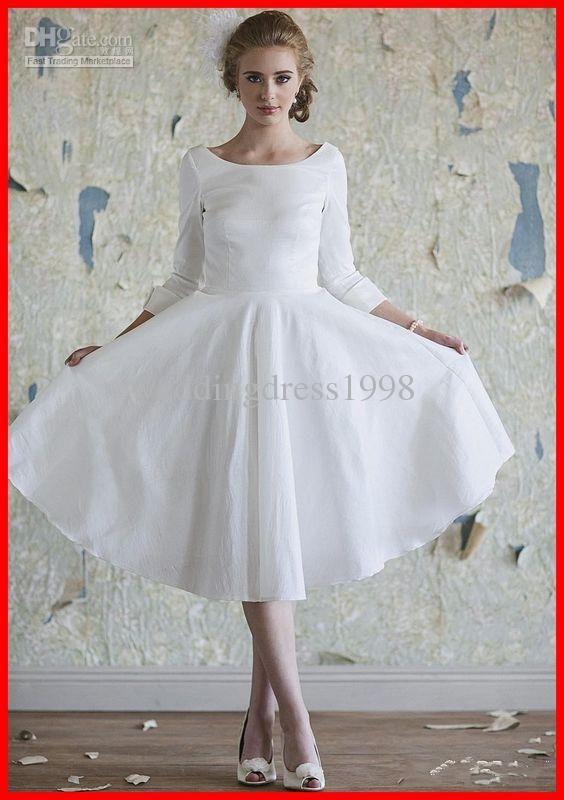 020b590da3 Traditional Design Long-sleeves A-line Knee-length Wedding Dresses ...