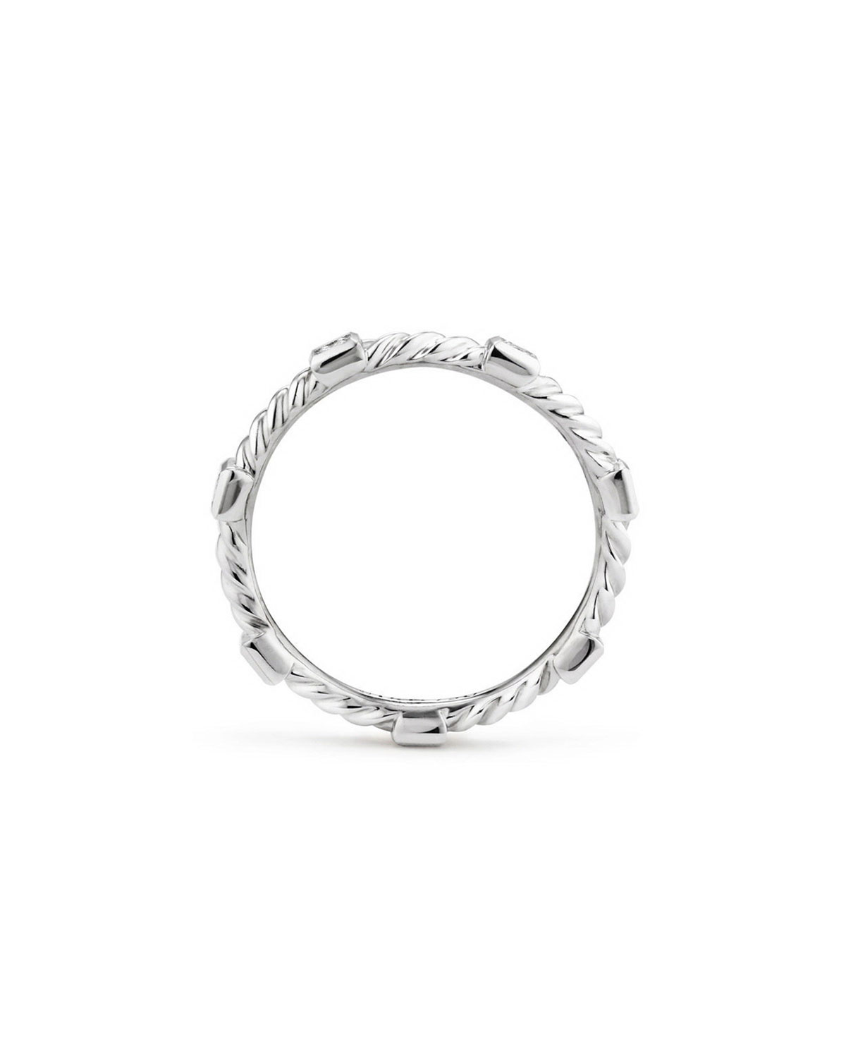David Yurman Cable Collectibles Stacking Band Ring W Diamonds In 18k White Gold Size 7 Womens Jewelry Rings White Gold Gold Bands