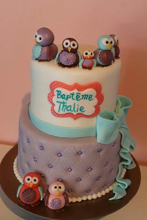 Pice monte de baptme  hiboux  co  Birthday Cake Wedding cakes et Cake