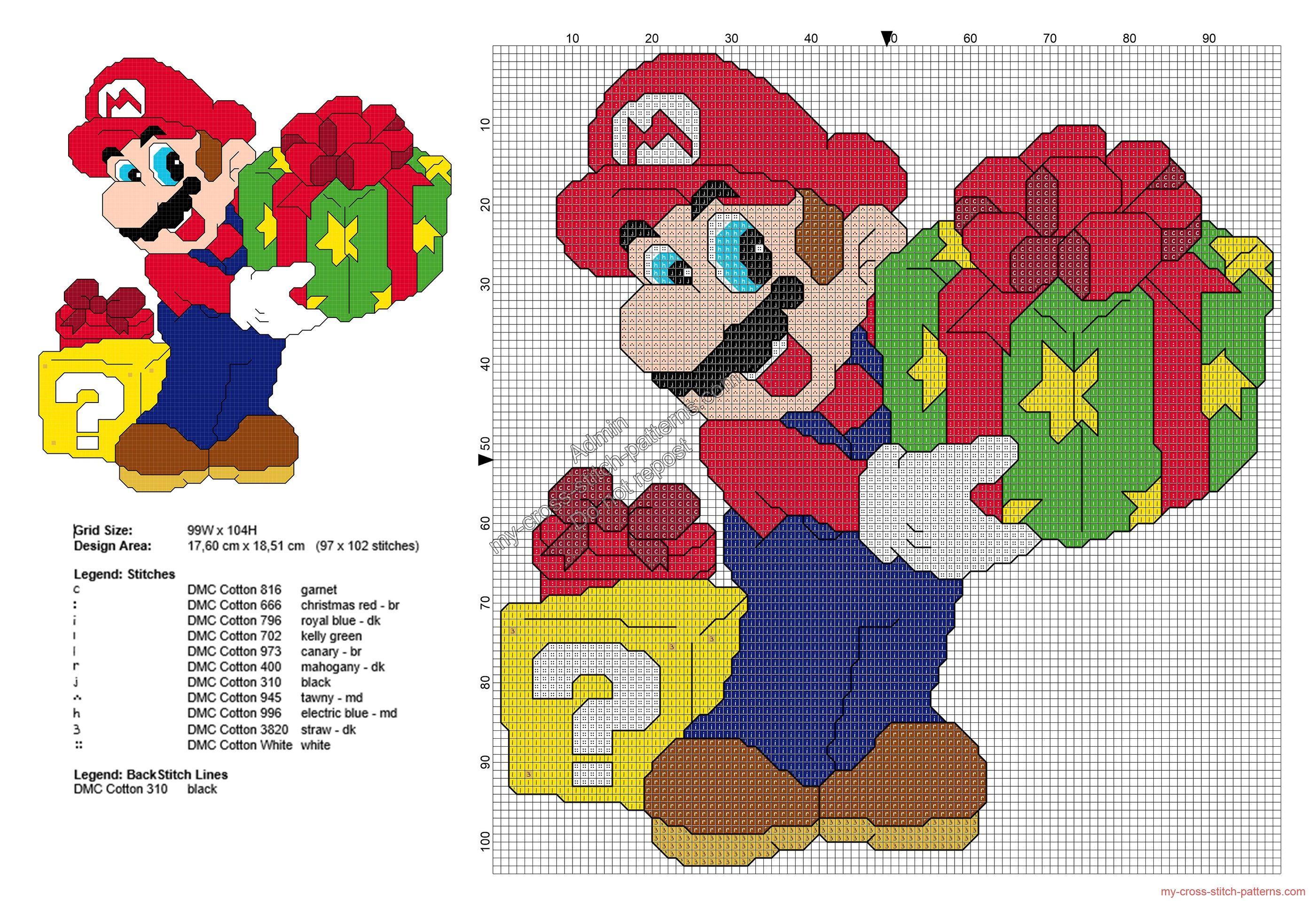 Super Mario Bros con regalos de Navidad patrón punto de cruz gratis ...