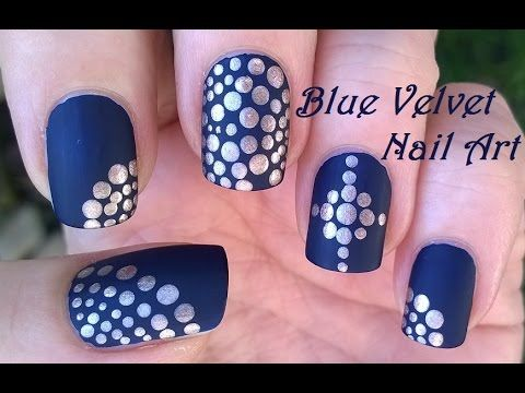Matte Nails Tutorial Blue Velvet Gold Dotting Tool Nail Art