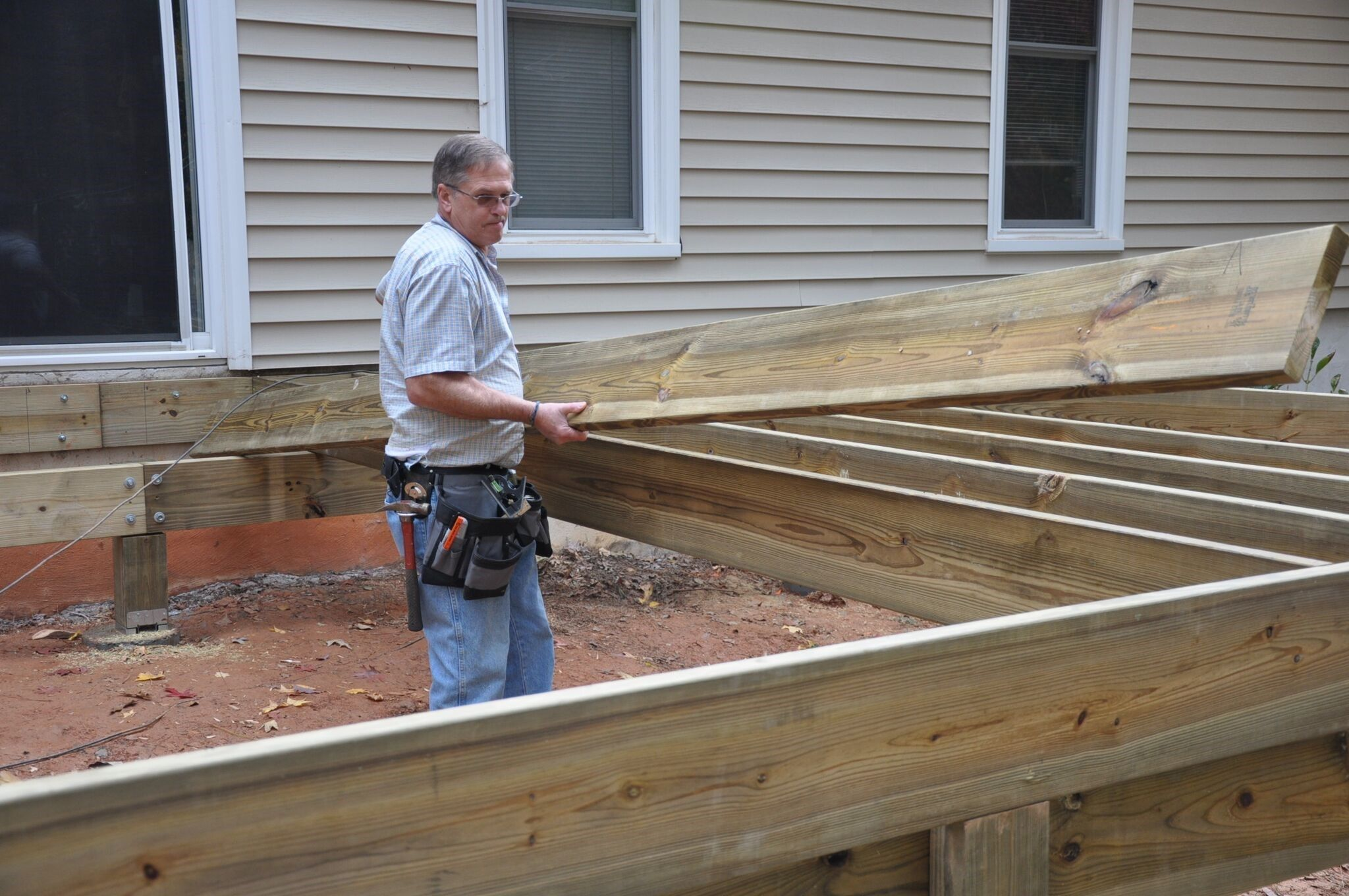 Explore 55 Articles Explaining Connections Between Joists, Beams And Support  Posts With Carpenters Tools To Build ...