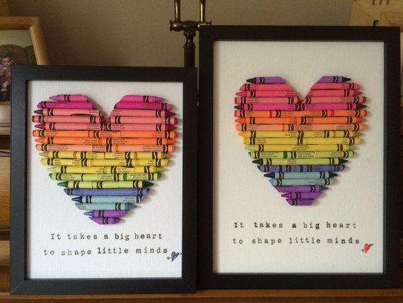 Cut Crayon Heart, Framed wall Art, Custom baby gift, Teacher appreciation gifts, personalized Crayon Hearts