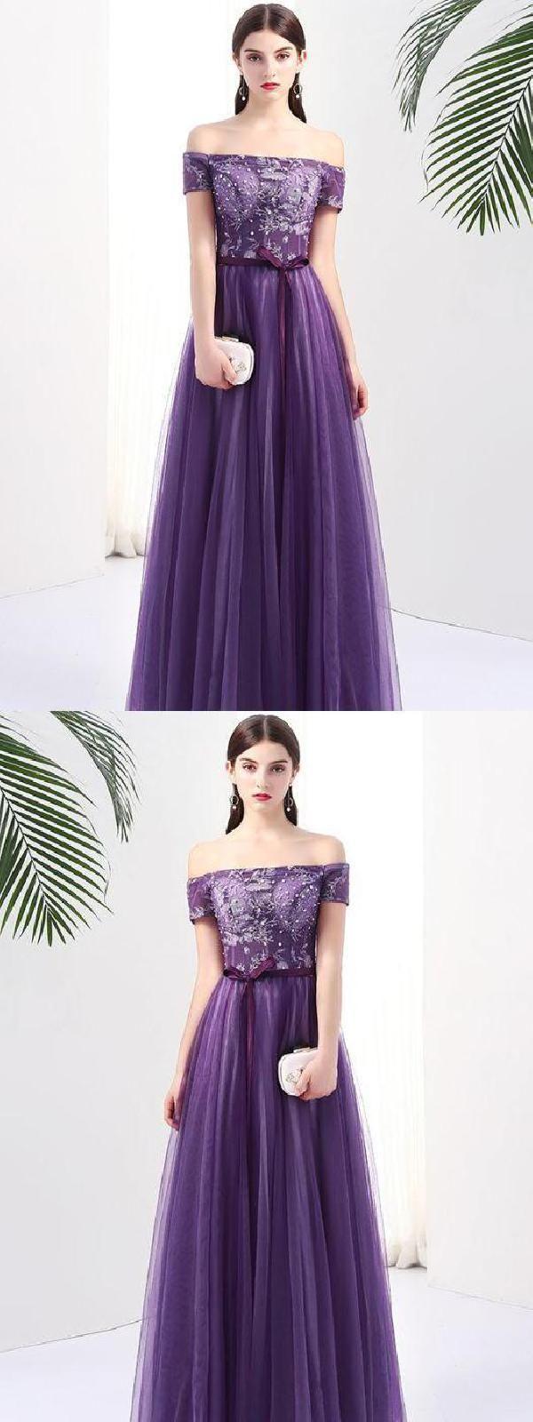 Chic grape prom dress aline off shoulder applique prom dress