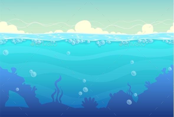 Underwater Seamless Landscape Underwater Cartoon Underwater Vector Background