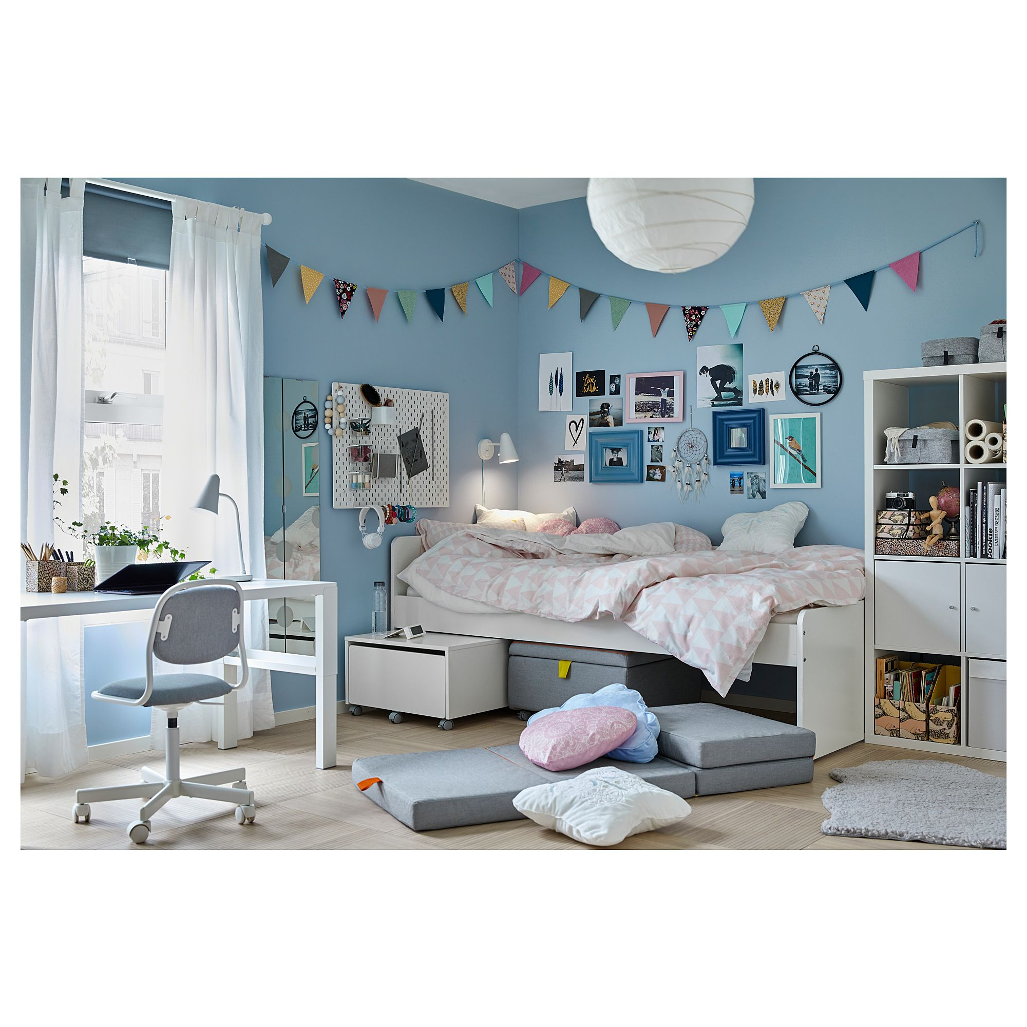 Sedia Junior Ikea SlÄkt Bed Frame With Slatted Bed Base White In 2019 Dorm Ikea