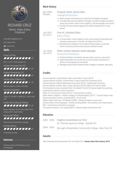 Video Editor Cv resume template, Cv template, Resume format