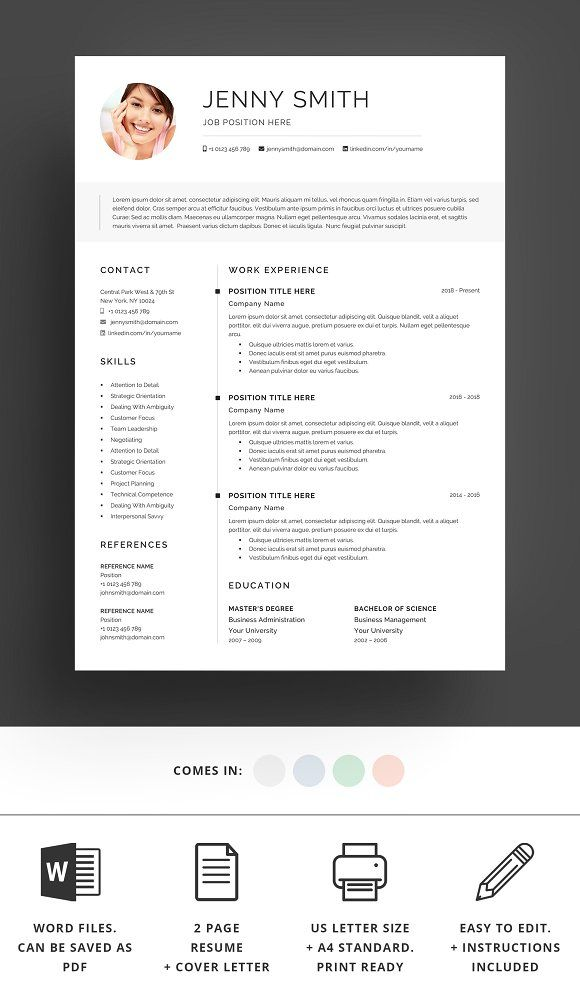 Resume Template Word Modern Clean CV | Template, Business resume and ...
