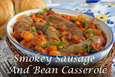 Smokey Sausage and Bean Casserole #cajundishes