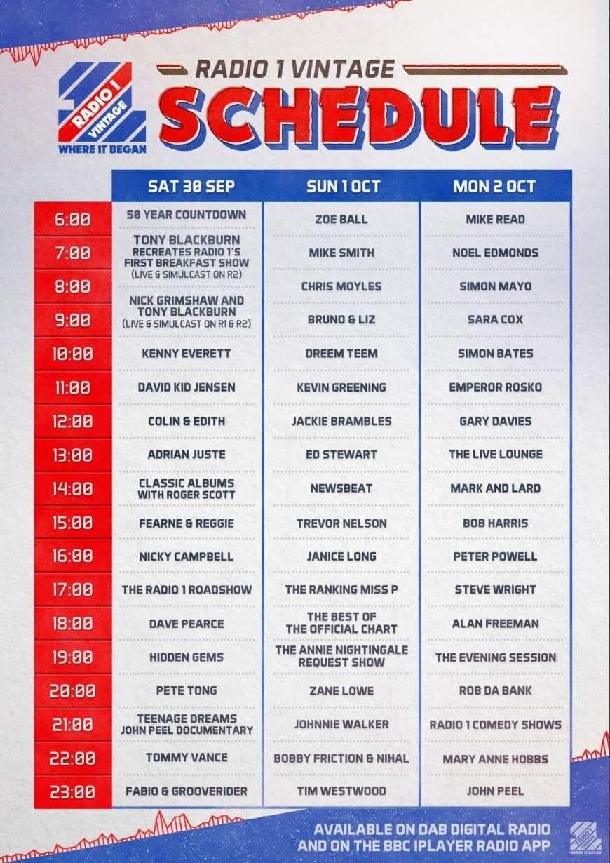 Schedule for pop up digital radio station marking 50 years
