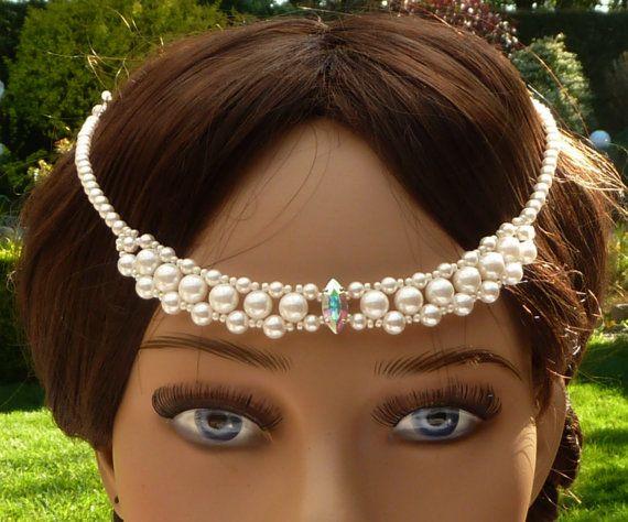 Braut Stirnschmuck Kopfschmuck weiße von Schmucktruhe auf Etsy
