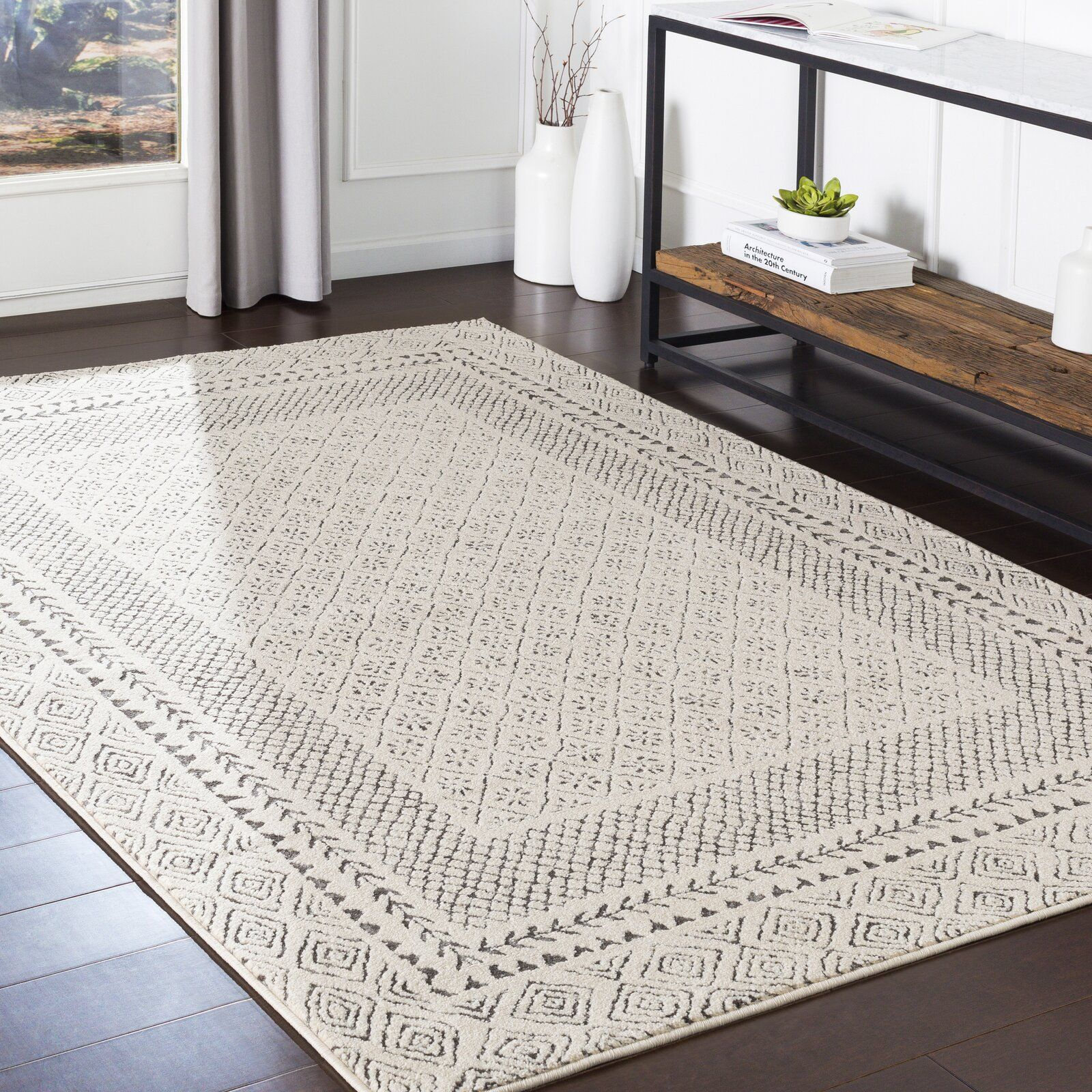 Calvo Gray Beige Charcoal Area Rug Farmhouse Area Rugs Rugs In