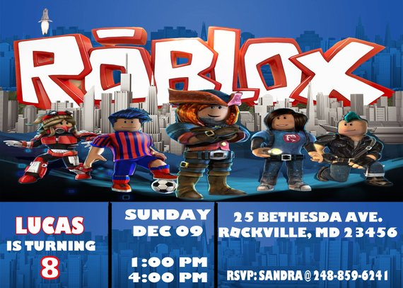 Roblox Invitation Birthday Party Personalized Digital Download