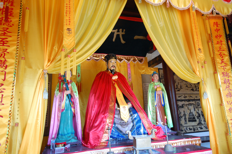 Altar to Zhuge Liang inside an ancestral temple in his hometown Yinan, Shandong.