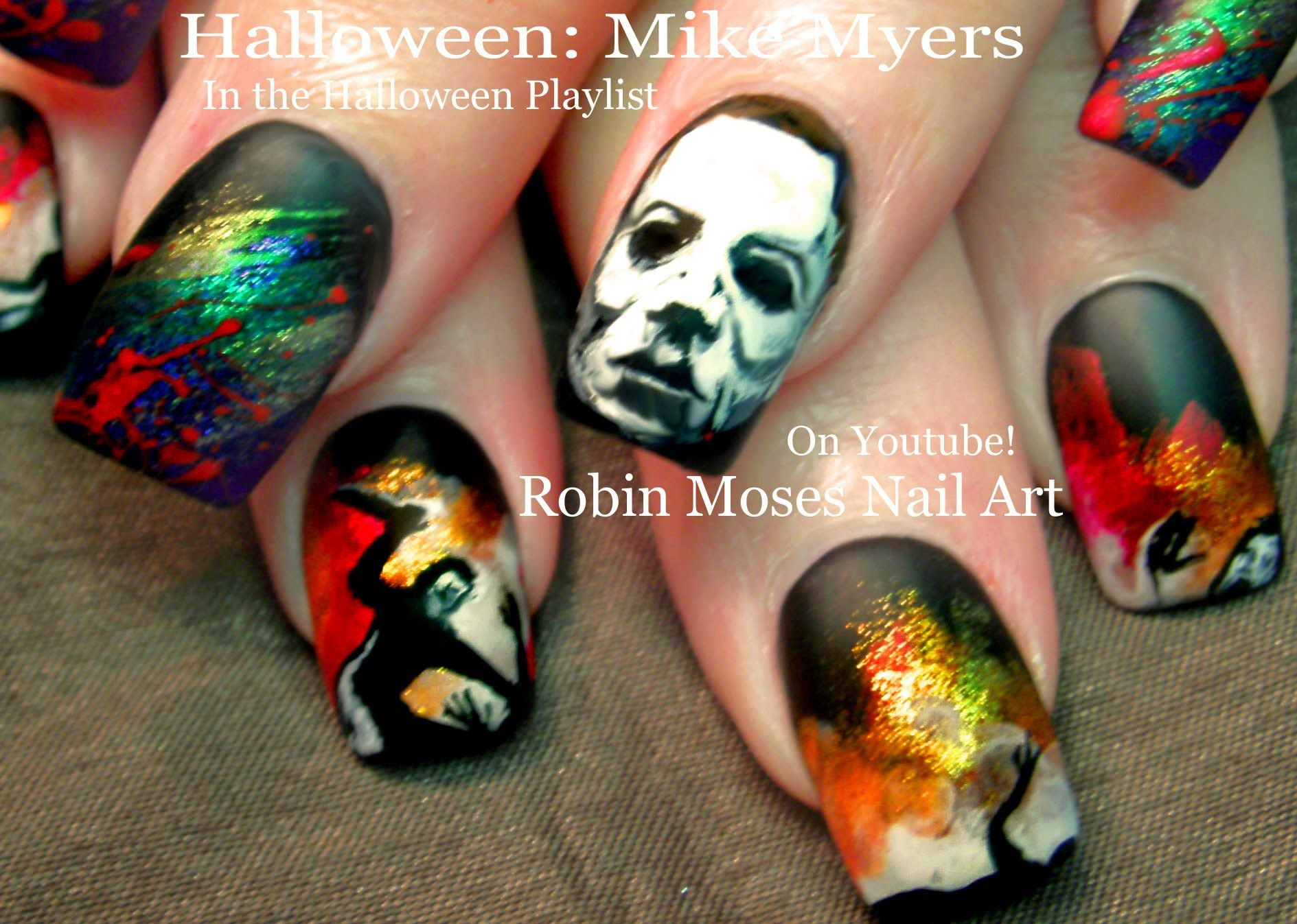 Halloween nails diy scary mike myers nail art design tutorial halloween nails diy scary mike myers nail art design tutorial prinsesfo Images