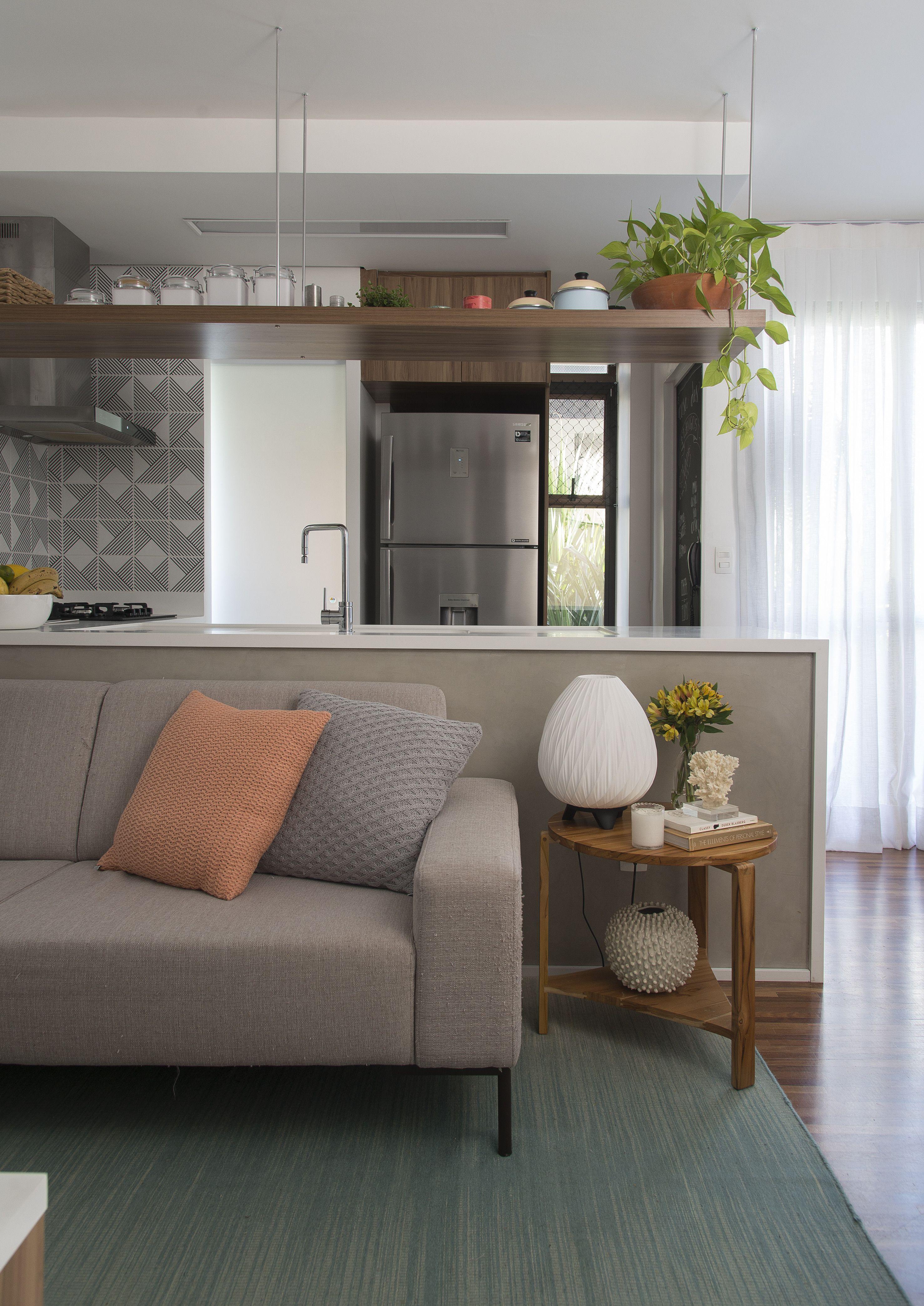 Sp Estudio Jurupis Tijolo Branco Prateleira Suspensa Madeira  ~ Bancada Divisoria Sala Cozinha