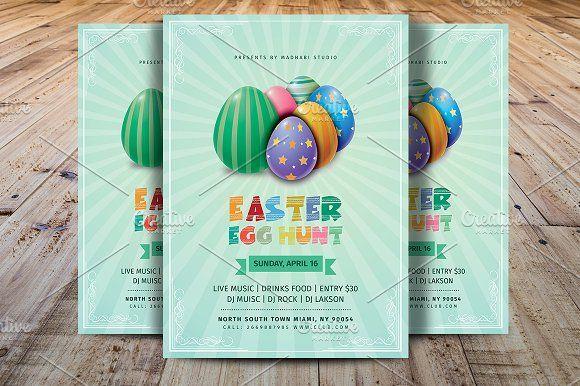 Easter Egg Hunt Flyer Template by Madhabi Studio on @creativemarket
