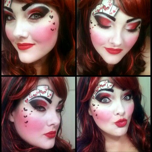 Half Red /& Black Twisted Harlequin Wig Harley Quinn Queen of Hearts Poker Lady