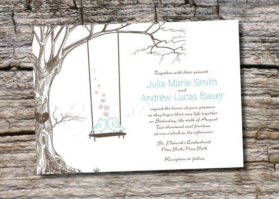 Vintage Tree Lovebirds Swing Wedding Invitation And Response Card