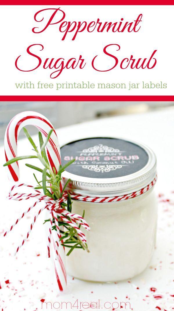 Peppermint Sugar Scrub with Free Printable Mason Jar Labels #giftideas