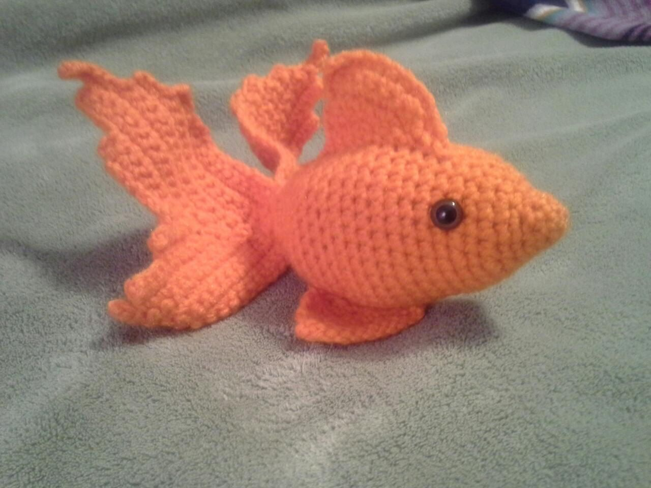 Goldfish stuffed animal crochet amigurumi orange gold for Fish stuffed animals