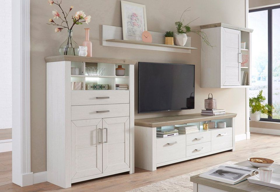 set one by musterring wohnwand york pino aurelio im landhaus stil 4 tlg deko. Black Bedroom Furniture Sets. Home Design Ideas