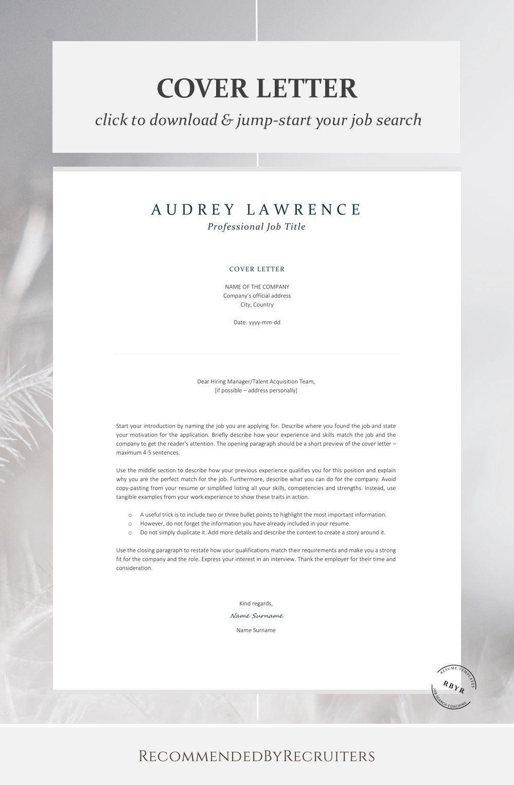 Elegant Resume Template For Finance Instant Download Cv Etsy In