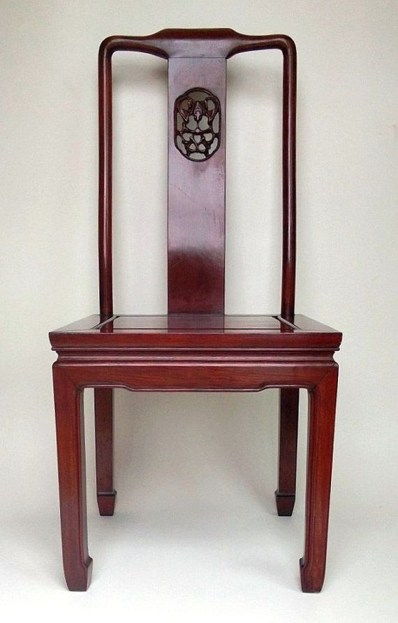 Vintage Chinese Rosewood Chair With Handcarved Bat By Theeashop