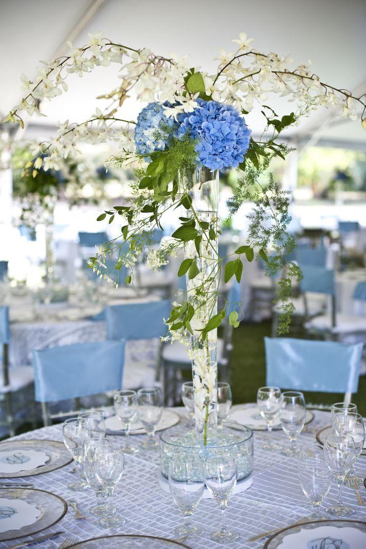 Classically elegant fall wedding hydrangea wedding for Blue wedding reception ideas