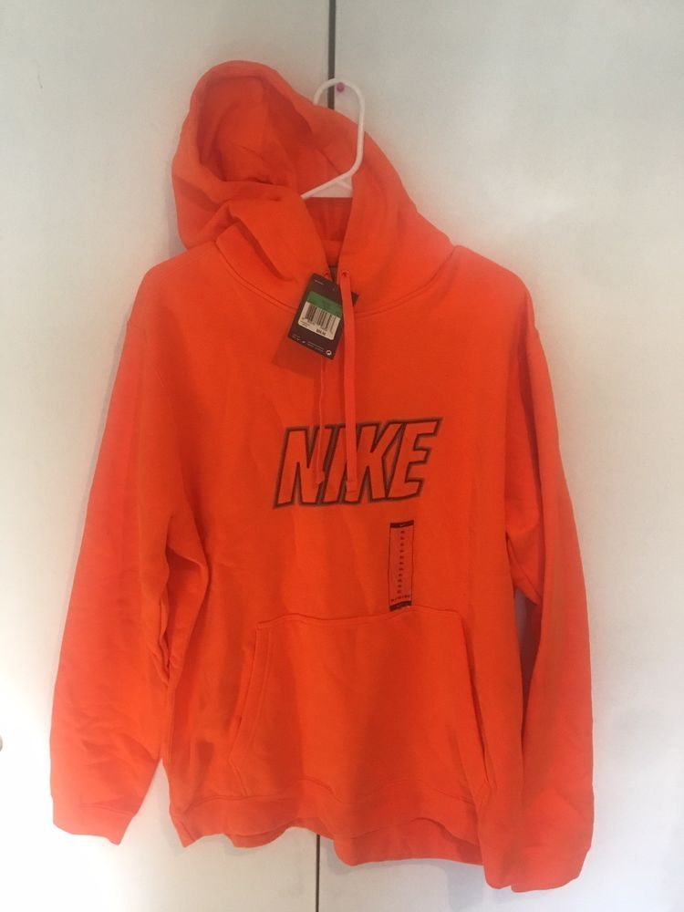 3b0b1e973b74 NIKE Mens Thermal Hoodie Sweatshirt Dri fit Orange XL Pullover Shirt ...