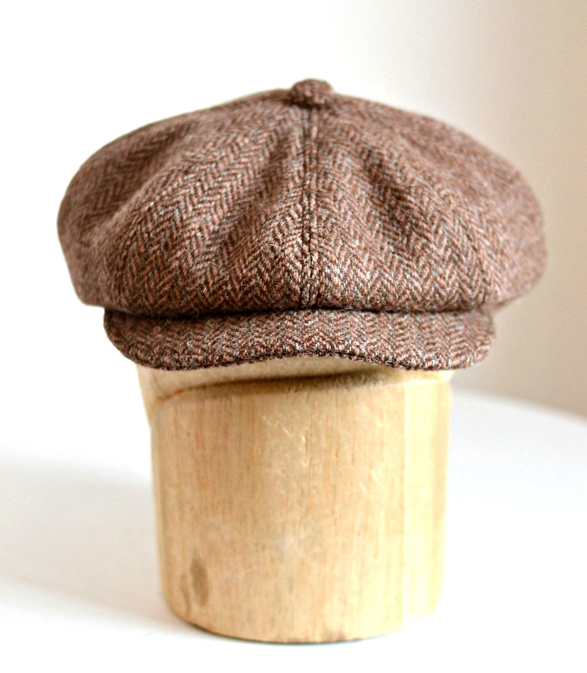 a75008135f7 Newsboy Cap in Vintage Harris Tweed - Herringbone Tweed Cap