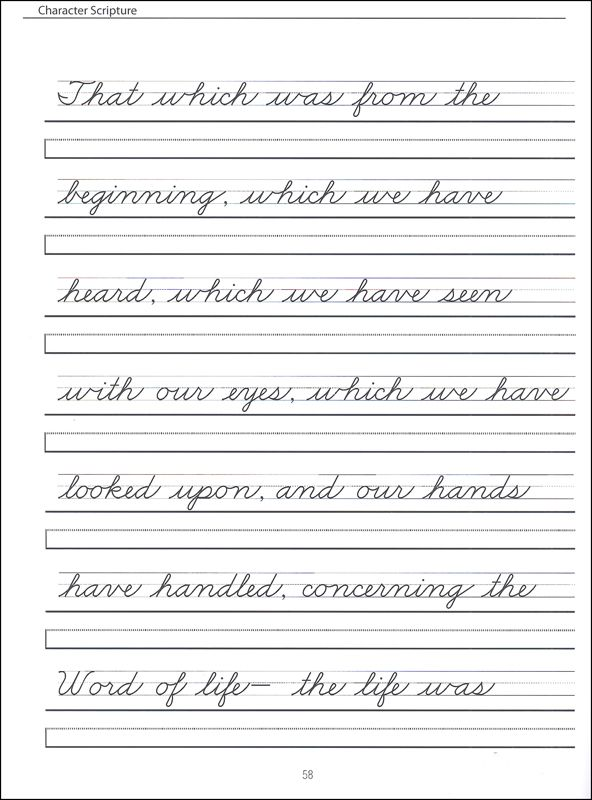 Grades 24 Zaner Bloser cursive with scripture passages – Cursive Writing Worksheet