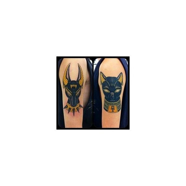 Egyptian hieroglyphs and cat tattoo in black ❤ liked on Polyvore featuring accessories and body art