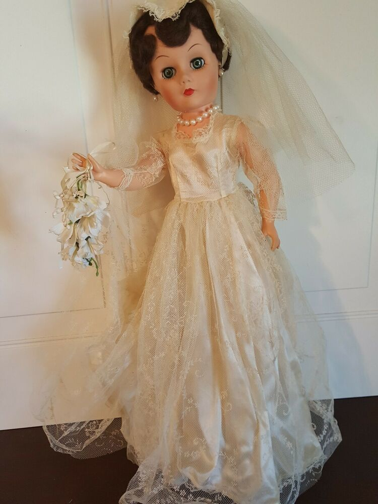 Vintage 1950s 24 Inch High Heeled Bride Doll Hard Plastic Eeger Deluxe Reading? #bridedolls