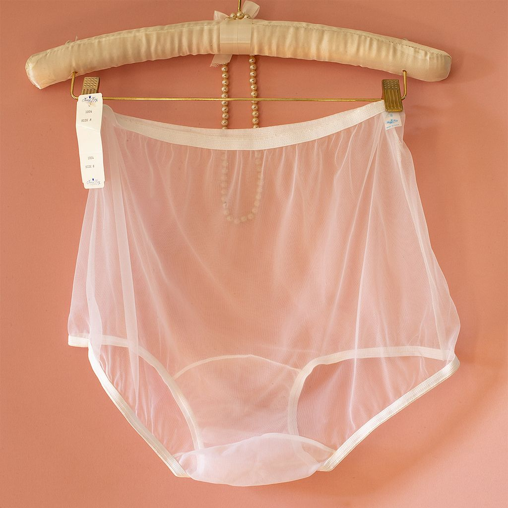 nancy king ultra sheer nude white nylon knickers and