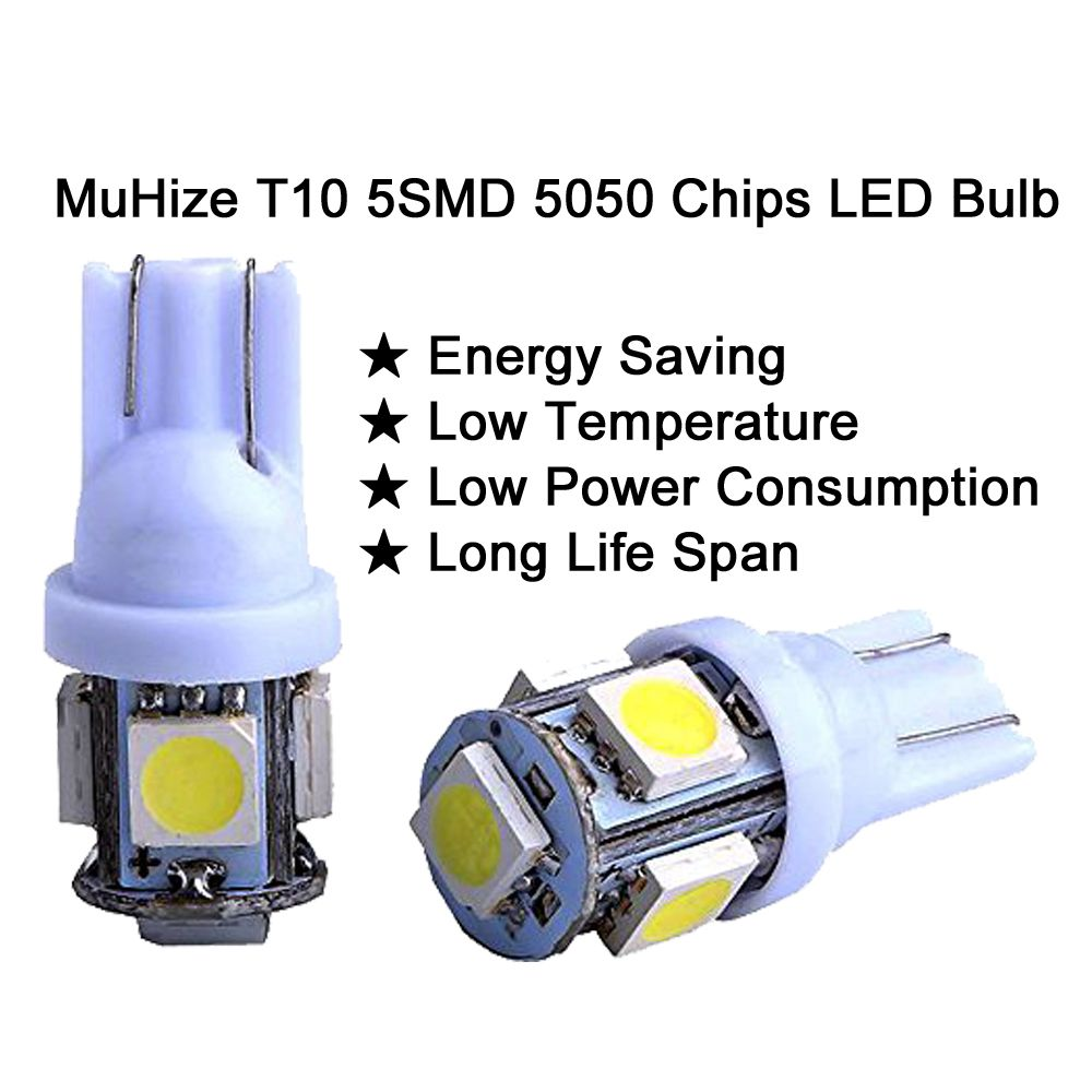 T10 194 Car Led Bulb Muhize 6000k White Dc 12v 5smd Upgrade Version Replacement W5w 168 2825 Lamp For Interior Dome Map Door Courtesy License Pl